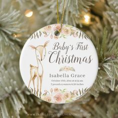 This cute deer baby's first Christmas ornament makes the perfect keepsake gift for the holiday season. Personalize with a name and birth stats today! Baby's 1st Christmas Ornament, Personalized Christmas Ornaments, Christmas Card Holders, Holiday Ornaments, Christmas Time, Holiday Cards, First Christmas Photos, Babies First Christmas, Watercolor Deer