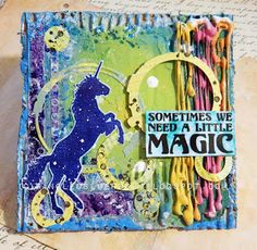 Today I have a colorful play for Visible Image to share. Spring is here and there's no better reason to bring about all the . Art Journal Inspiration, Creative Inspiration, Journal Ideas, Unicorn Birthday Cards, Fantasy Mermaids, Image Stamp, Mixed Media Canvas, Altered Art, Magic