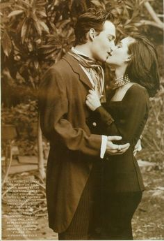 """From the series """"Johnny Depp and Winona Ryder for Vogue UK"""" by Herb Ritts. Johnny Depp Winona Ryder, Winona Ryder Beetlejuice, The Kiss, Winona Forever, Johny Depp, Famous Couples, Celebrity Gallery, Vogue Uk, Film Serie"""