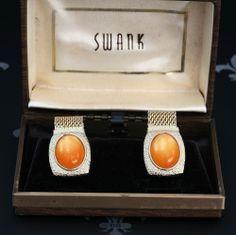 SWANK Vintage Gents Gold Mesh Wraparound Cufflinks Orange Stones Original Box