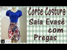 Corte e Costura Passo a Passo - Saia Evasê com pregas para inciantes! - YouTube