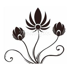 drawing of black flower pattern in a white background ❤ liked on Polyvore