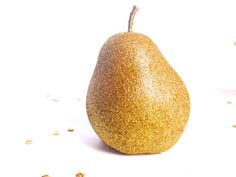 2 Gold Glitter Pears. Valentines Day table decor Weddings, Birthdays Glittered Fruit Party decorations Be Mine Table Setting - READY TO SHIP