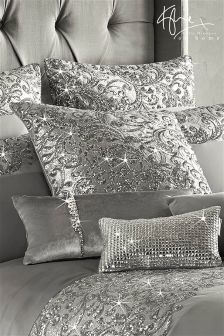 Buy Kylie Cadence Cushion from the Next UK online shop Glam Bedding, Luxury Bedding Sets, Linen Bedding, Bling Bedroom, Silver Bedroom, Silver Bedding, Bedroom Sets, Room Decor Bedroom, Bed Cover Design