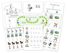 A lapbook learning pack for preschoolers with games that contains early learning printables to use when studying about knights and castles. Includes: bird words, beginning sounds, puzzles, sorting activities and Preschool Themes, Preschool Printables, Preschool Kindergarten, Free Printables, Fairy Tale Theme, Fairy Tales, Chateau Fort Moyen Age, Knight Party, A Knight's Tale