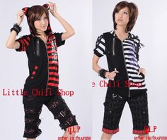 FreeShip PUNK VISUAL KEI EMO Kera CAT HOODIE Stripe Shirt 71211 *2 Colors * #OwnBrand #ZipperShirt #Punk