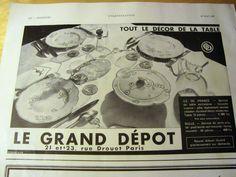 PUBLICITE  1931 LE GRAND DEPOT Arts de la table