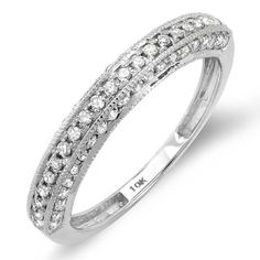 0.50 Carat (ctw) 10K White Gold Round Diamond Anniversary Wedding Band Guard Matching Ring 1/2 CT $249.00