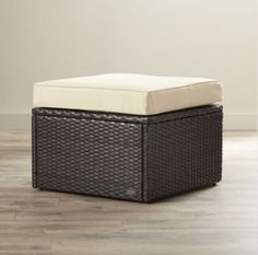 Contemporary Wicker Ottoman With Tan Cushion Patio Furniture Brown Finish New