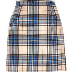 River Island Blue check A-line skirt ($16) ❤ liked on Polyvore featuring skirts, bottoms, sale, blue knee length skirt, checkerboard skirt, a line skirt, checked skirt and blue a line skirt