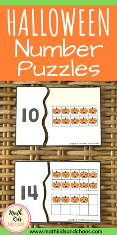Help your child practise their math skills this October with these fun Halloween number puzzles! Great for preschool and kindergarten, these number puzzles practise counting skills and number recognition. #preschoolmath #kindergartenmath #Halloweenmath #mathkidsandchaos #Halloweennumbers #preschool Fun Math Activities, Halloween Activities For Kids, Kindergarten Games, Halloween Math, Math For Kids, Halloween Stuff, Kids Sand, Number Puzzles, Number Recognition