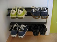 Here are two tidy ways to store your shoes (spare shoes, like in the entryway or for the mud room) in a tidy way that also makes it easy to clean under and around them. Linked to this pin is an easy DIY way to make these floating shoe shelves, and here's a link to the expensive, pre-made version: http://www.dwr.com/product/horizontal-shoe-rack-large.do?from=Search=0