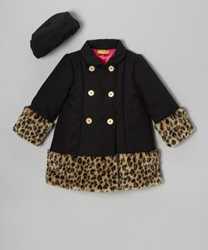Take a look at this Black Leopard Swing Coat & Hat - Infant, Toddler & Girls on zulily today!