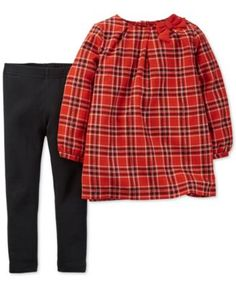 Clara and Adaline Carter's Baby Girls' Red Plaid Tunic & Leggings Set