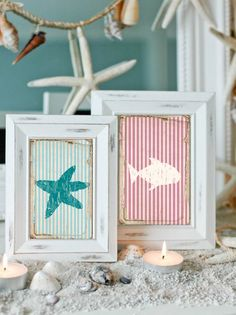 11 x 14, DIY, Coastal Art Print Stripes Beachhouse Weathered - crab, starfish, ship, turtle, fish, anchor, ship wheel - Printable Artwork. $5.50, via Etsy.
