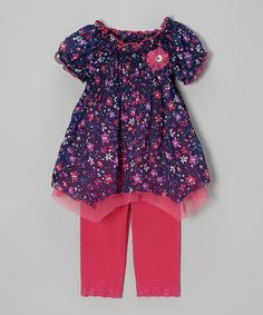 Look what I found on #zulily! Fuchsia Handkerchief Tunic & Leggings - Infant, Toddler & Girls by Little Lass #zulilyfinds