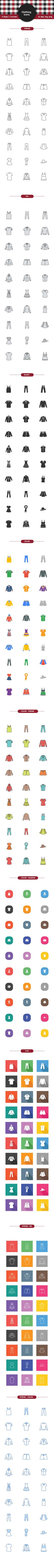 40 icons with everything ranging from shirts, pants and dresses to a blazer, hat and even a scarf.