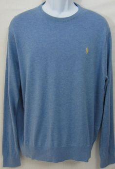 Ralph Lauren Polo Sweater Mens Large Cashmere Cotton Light Blue Crewneck Size XL #PoloRalphLauren #Crewneck