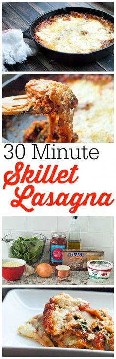 You can welcome lasagna to your weeknight dinner table with this 30 MINUTE skillet lasagna! It seriously was ready in LESS than 30 minutes, start to finish. This is a spinach version--one of the best vegetarian lasagnas Ive ever tasted! Healthy Vegetarian Lasagna, Best Vegetarian Recipes, Healthy Cooking, Cooking Recipes, Healthy Recipes, Skillet Recipes, Vegan Meals, Pasta Recipes, Beef Meals