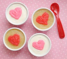 Cute valentine snack idea - hearts on yogurt or applesauces coloured with red gel food colouring.