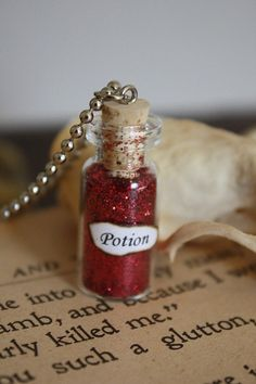 Items similar to Potion Bottle - Glass Vial Necklace - Spell Bottle on Etsy Bottle Jewelry, Bottle Charms, Magic Bottles, String Art Patterns, Bubble Art, Potion Bottle, Glass Vials, Bottle Necklace, Japanese Embroidery