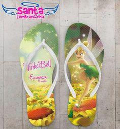 Chinelo Infantil Tinker Bell Sininho Personalizado