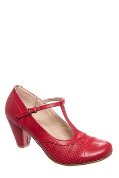 Ona Red (Taco) - T-strap low heels leather shoes in red and soft