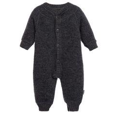 Joha Grey Thermal Merino Wool Baby Romper Suit at Childrensalon.com