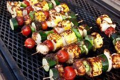veggie kabobs with corn on the cob
