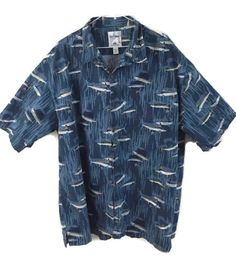 Mens 3X Guy Harvey Hawaiian Shirt Fish Swordfish Marlin Blue Cotton  #AFCOBluewater #Hawaiian