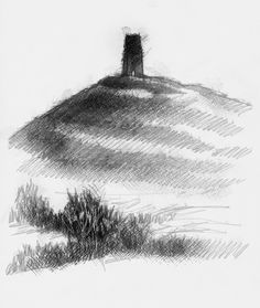 Glastonbury tor, Artist Sean Briggs producing a sketch a day, prints available at https://www.etsy.com/uk/shop/SketchyLife  ##glastonbury #art #drawing #http://etsy.me/1rARc0J
