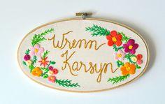 TWO LEFT Custom Name Embroidery Hoop. Nursery Decor. by KimArt