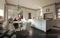 Ashley Goforth Design - de casas bedrooms design design and decoration Dark Kitchen Cabinets, Kitchen Nook, Kitchen Dining, Funky Kitchen, Kitchen Walls, Kitchen White, Kitchen Ideas, Light Grey Walls, Gray Walls