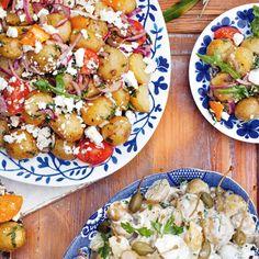 Potatissallad med vitlök, tomater & fetaost