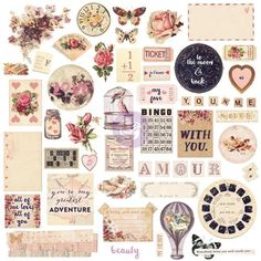 CHIPBOARD DIE CUTS, Prima Love Clippings, Victorian Die Cuts, Victorian Chipboard Die Cuts, Vintage Die Cuts, Chipboard Embellishments by OneDayLongAgo on Etsy
