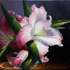Pink Lily, Oil painting.  Varvara Harmon Oil