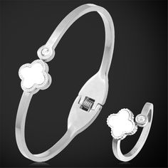 Stainless Steel Jewelry Set For Women 18K Real Gold/Rose Gold Plated Fashion Jewelry Clover Ring Bracelet Set Wholesale