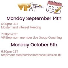 #VIPStepmom is a full service Coaching agency exclusively for #stepmoms. Aside from our membership community, we have busy season of events planned. Are you coming!?!? Coaching, Advice, Community, Events, How To Plan, Training, Tips