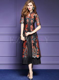 Shop Vintage Peony Embroidered Half Sleeve Maxi Dress With Underskirt at EZPOPSY. Cheap Maxi Dresses, Simple Dresses, Elegant Dresses, Cute Dresses, Beautiful Dresses, Skater Dresses, Maxi Dress With Sleeves, Chiffon Dress, Lace Dress