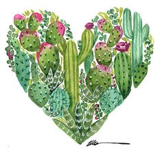 Cactus Heart original watercolor painting – Home living color wall treatment kitchen design Cactus Drawing, Cactus Painting, Heart Painting, Watercolor Cactus, Watercolor Paintings, Cactus House Plants, Cactus Decor, Cactus Art, Cactus Flower