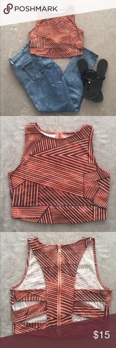 SILENCE + NOISE Striped Open Back Crop Top SILENCE + NOISE Orange & Black Geometric Striped Crop Top in Size L. Long Crop Top, Rose gold zipper, Cut out back, 98% Polyester 2% Spandex. Super cute and different! silence + noise Tops Crop Tops