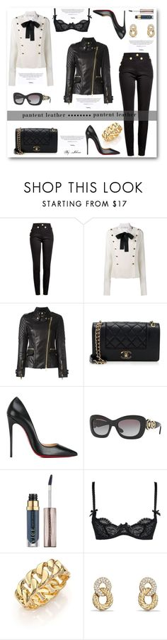"""City Slickers: Patent Leather"" by jelenalazarevicpo ❤ liked on Polyvore featuring Balmain, Philosophy di Lorenzo Serafini, Burberry, Chanel, Christian Louboutin, Versace, Urban Decay, L'Agent By Agent Provocateur, Kenneth Jay Lane and David Yurman"
