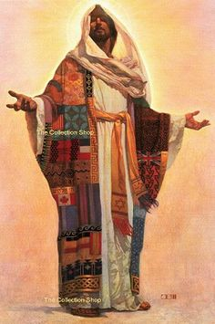 Artist: Thomas Blackshear His love is universal… His sacrifice is offered to all nations, all tribes, all languages and all people. Coat of Many Colors shows Jesus adorned with a robe made from fabrics and flags from around the globe. Jesus Art, Jesus Christ, Savior, Risen Christ, God Jesus, Thomas Blackshear, Jesus Photo, Coat Of Many Colors, Prophetic Art
