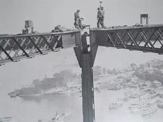 Joining the arches of the Sydney Harbour Bridge in the early 1930s.A♥W