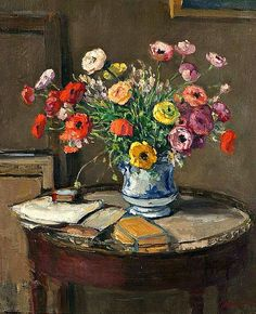 """Albert Andre: """"Flowers and Books on a Table"""""""