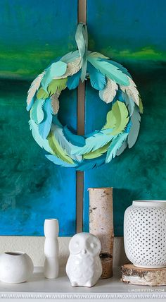 Wreath From Paper Feathers