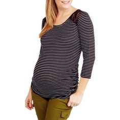 Planet Motherhood Maternity ,Three Quarter Striped Jersey , Side Cinched Top with Lace Shoulder Insert -Available In Plus Size, Size: 3XL, Black
