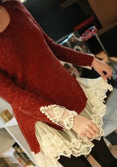 Wine Red Patchwork Lace False 2-in-1 Pullover Sweater