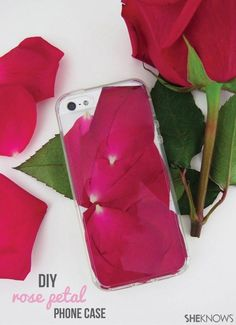 DIY Rose Petal Phone Case. A perfect project to do with a leftover bouquet of roses!