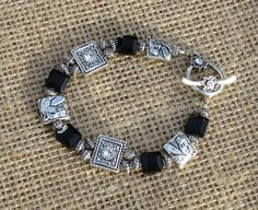Beaded Horse charm toggle bracelet  Black & by Itsallabouthorses